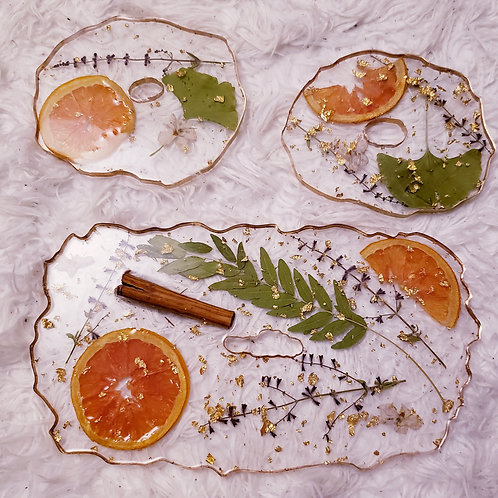 Orange Lilac Gingko Cinnamon Tray & Coasters Set