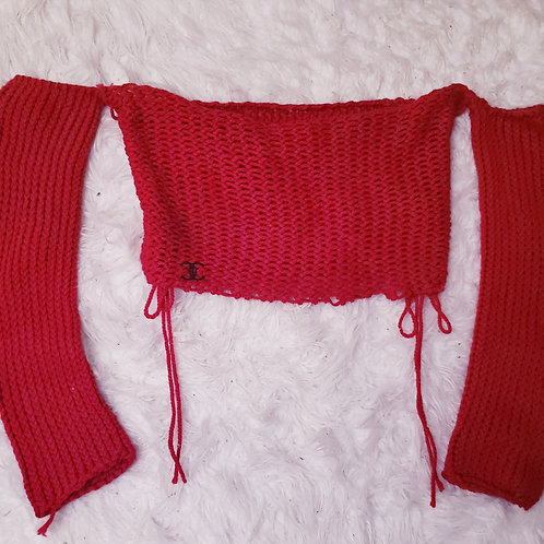 Hand Knit Red Long Sleeve Crop Top