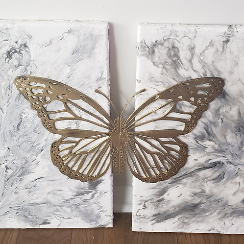 Gold Butterfly on Marble Painting
