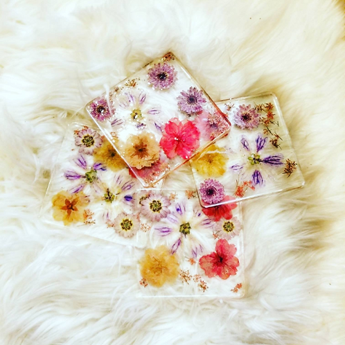 Dried flower coasters