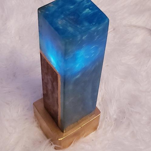 Blue Resin Burl Wood Lamp