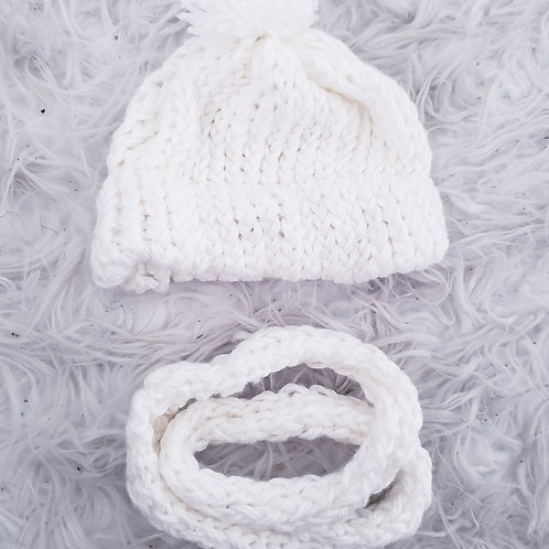 White Knit Baby Hat & Circle Scarf