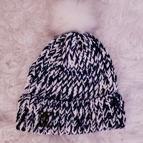 Navy Blue and White Knit Hat