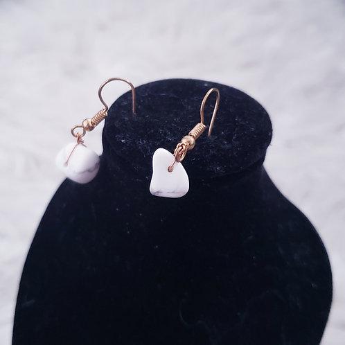 White Marble  Earrings