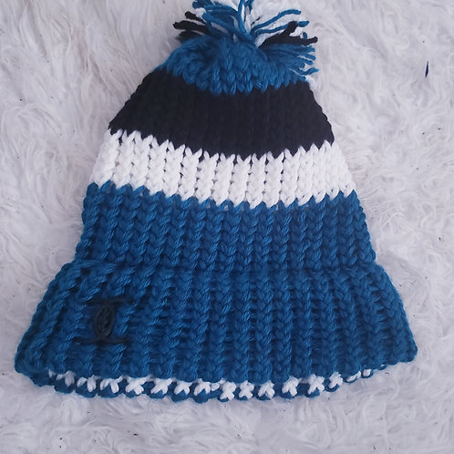 Teal, Black and White Knit Hat