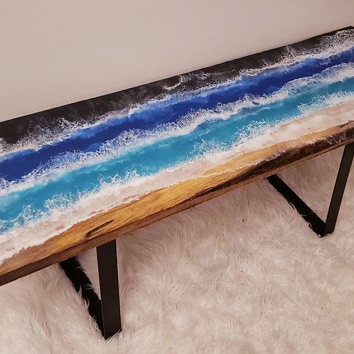 Live Edge Beach Oak Wood Bench