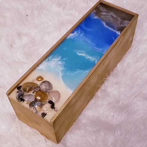 Beach  Gold Resin Box Wine Holder
