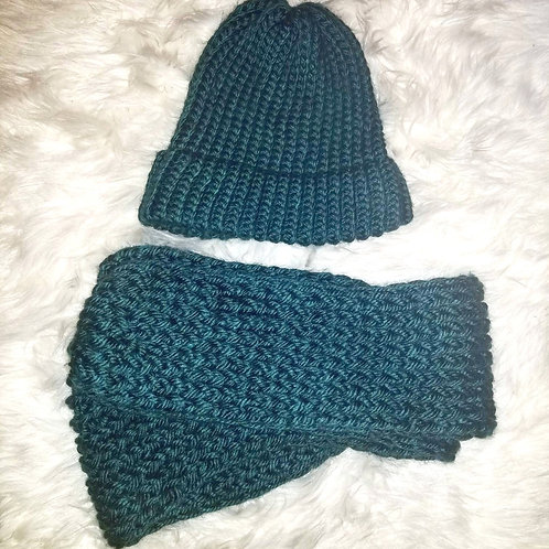 Teal Knit Circle Infinity Scarf & Knit Hat