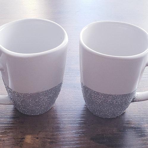 Silver Glitter Mug Set