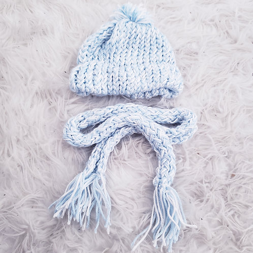 Blue & White  Knit Baby Hat & Scarf