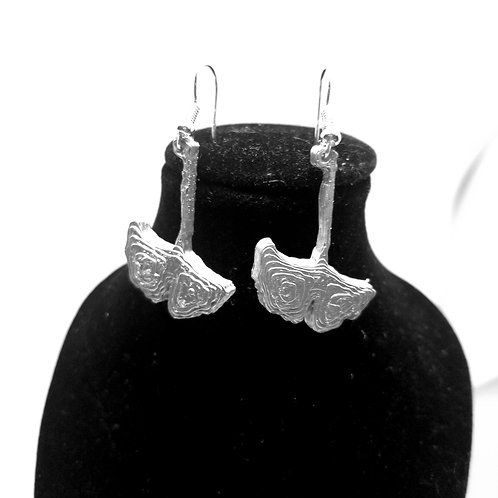 Silver Ginkgo Earrings