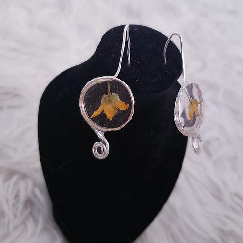 Yellow Flower Spiral Earrings