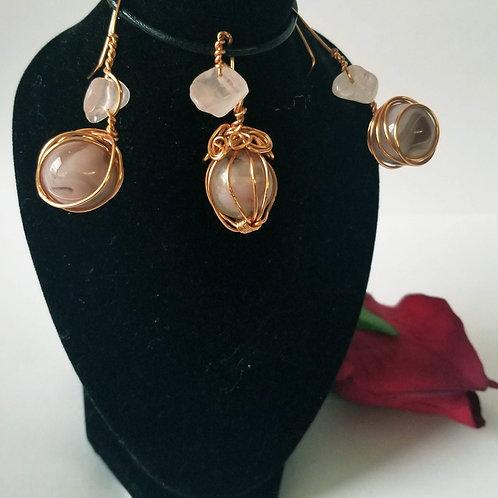 Copper Earrings & Pendant