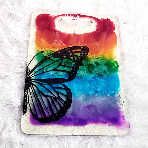 Rainbow Butterfly Resin Cutting Board