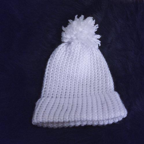 White Winter Knit Puff Ball Hat