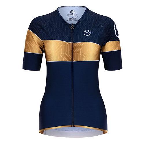 7even shirt in Royaal Blauw en onweerstaanbaar goud