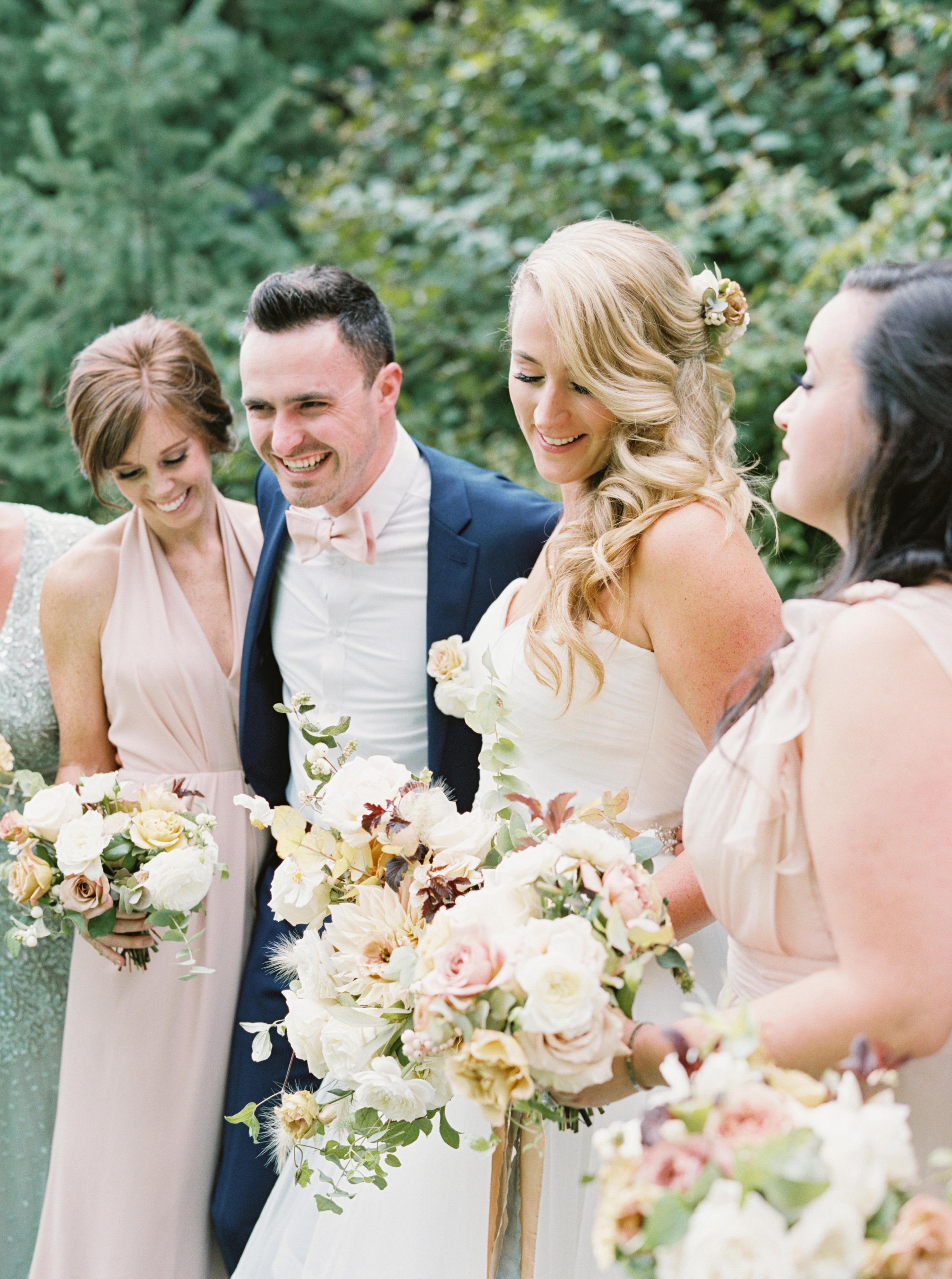 Bridal party blush bridesmaids