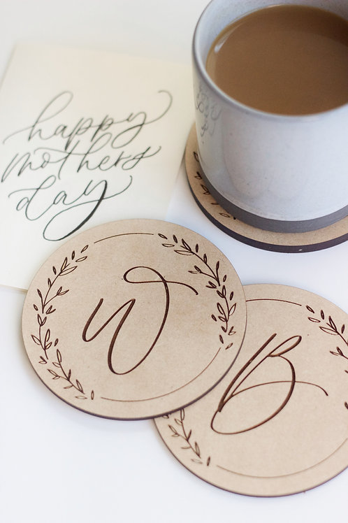 Hey Halle Custom Monogram Coasters - set of 4