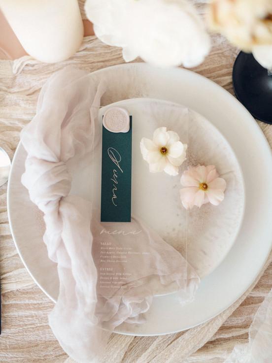 Spring wedding menu details