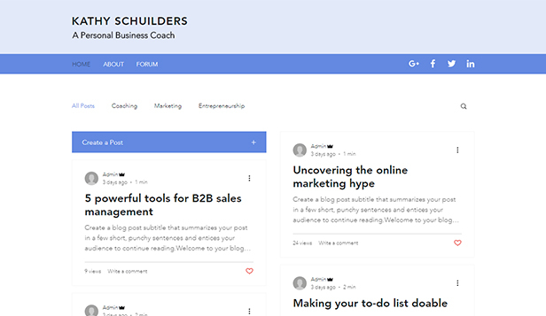 Ondernemen en marketing website templates – Persoonlijke businesscoach