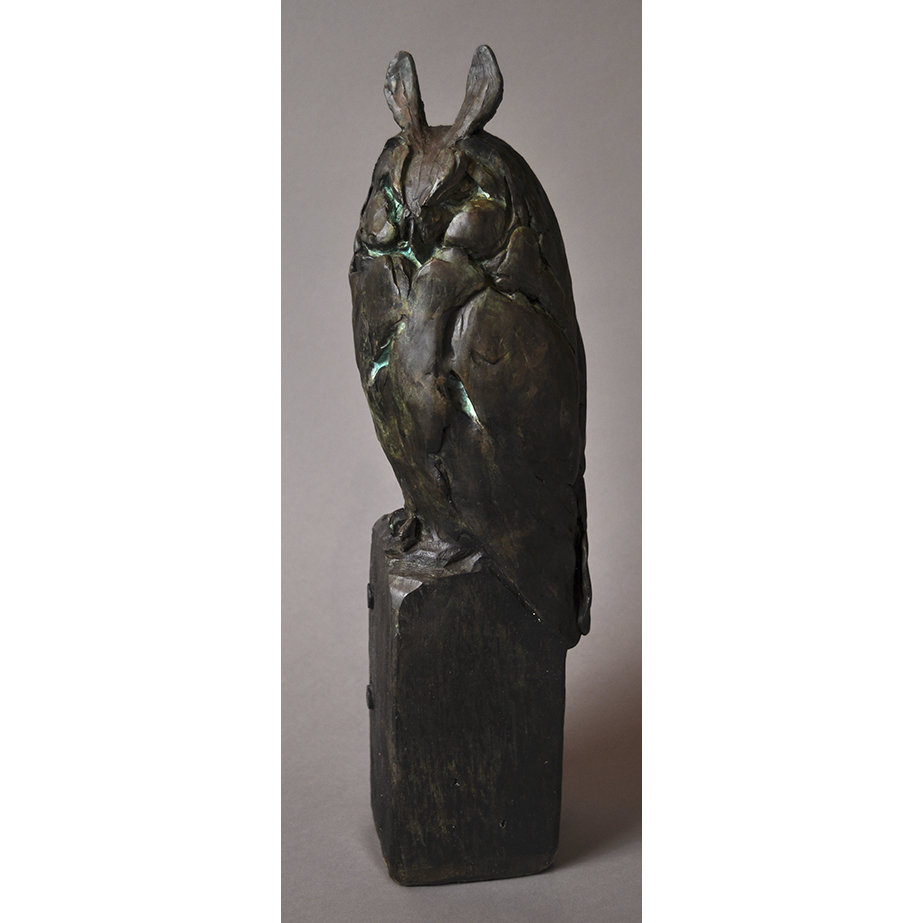 LONG EARED OWL IN BRONZE