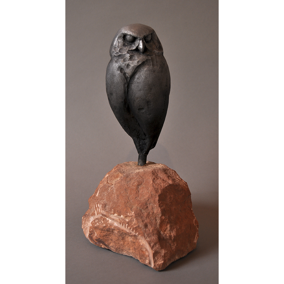 BURROWING OWL IN ALUMINUM ON STONE BASE