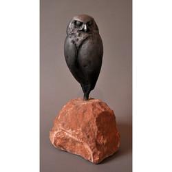BURROWING OWL IN ALUMINUM ON STONE BASE