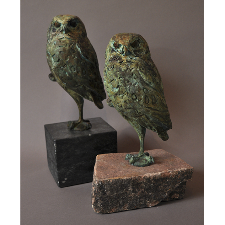 BURROWING OWL IN BRONZE ON STONE BASE