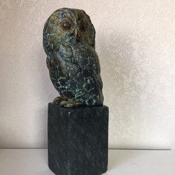 Saw-Whet Owl in bronze with a stone base