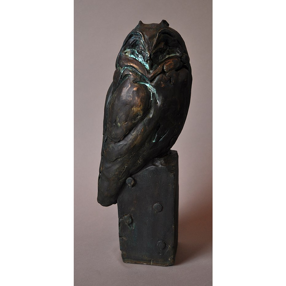 SHORT EARED OWL IN BRONZE