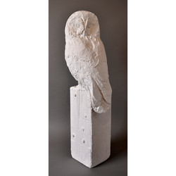 GREAT GRAY OWL IN PLASTER WORK IN PROGRESS FOR BRONZE