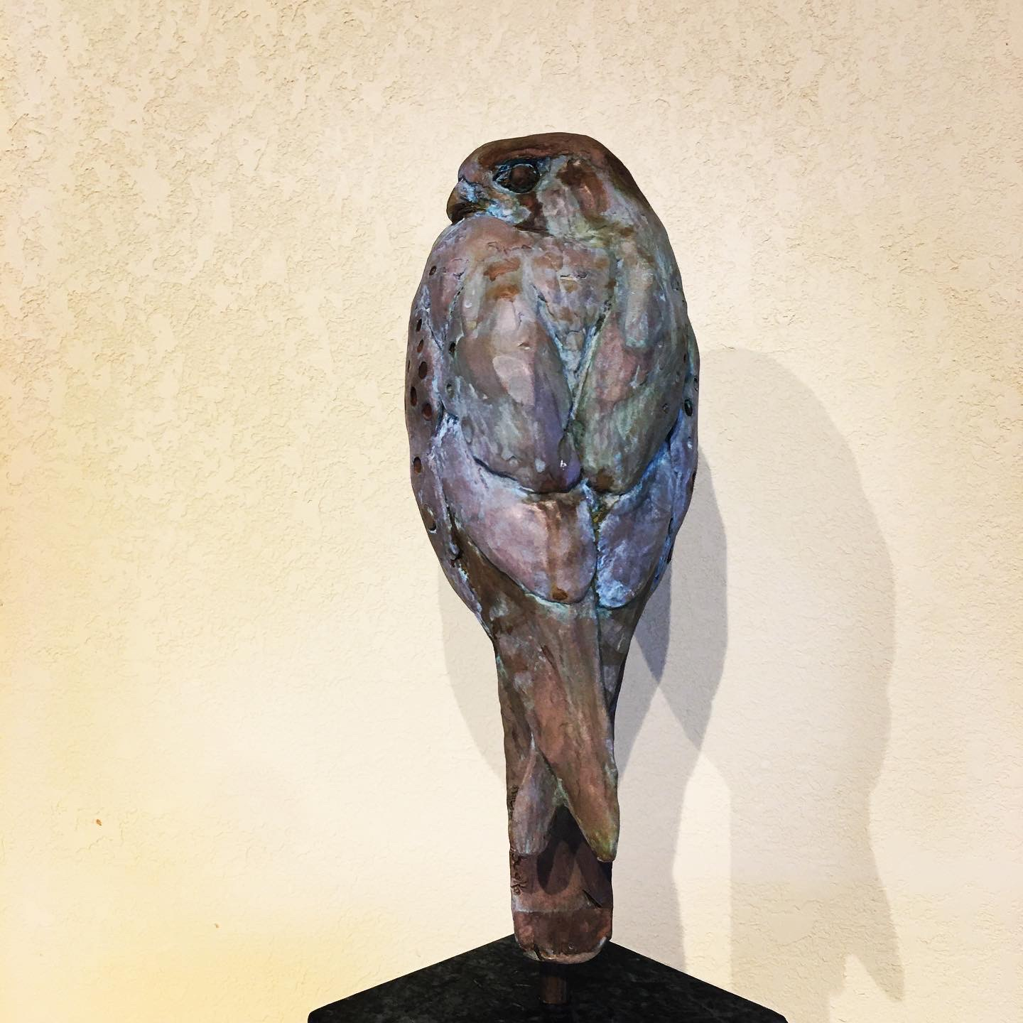 KESTREL IN BRONZE ON STONE BASE