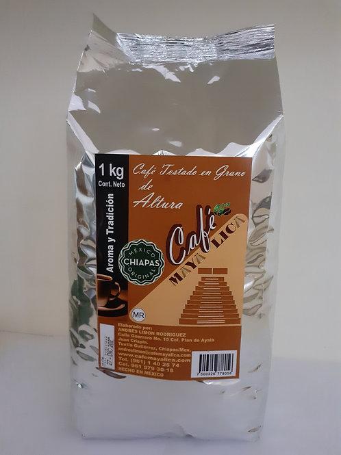 Café tostado en Grano MAYA LICA; 1kg