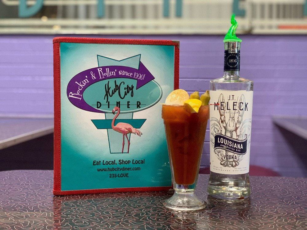 Hub City Diner menu and Bloody Mary made with JT Meleck Vodka.