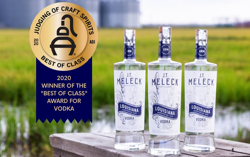 Three bottles of JT Meleck Vodka, one of many bayou products.