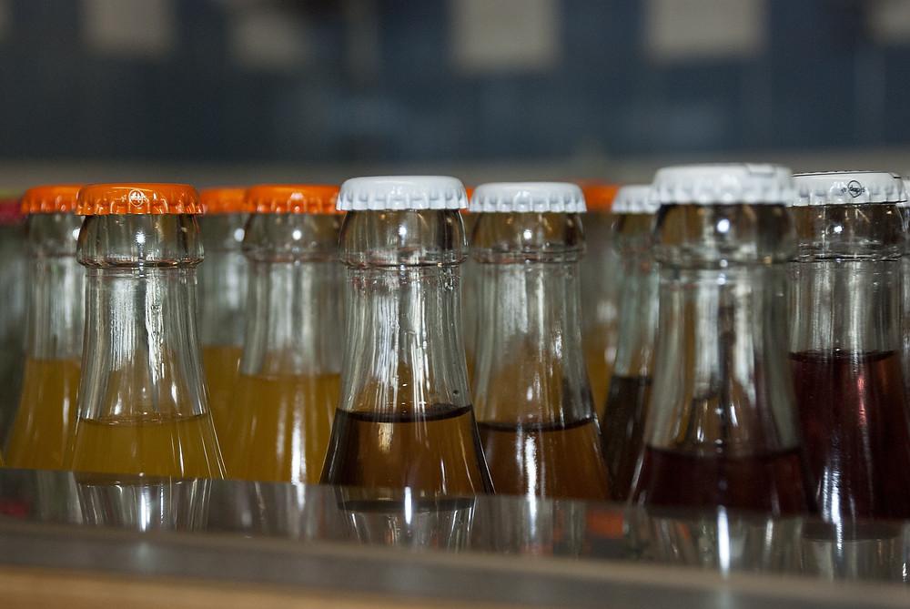 Orange soda bottles