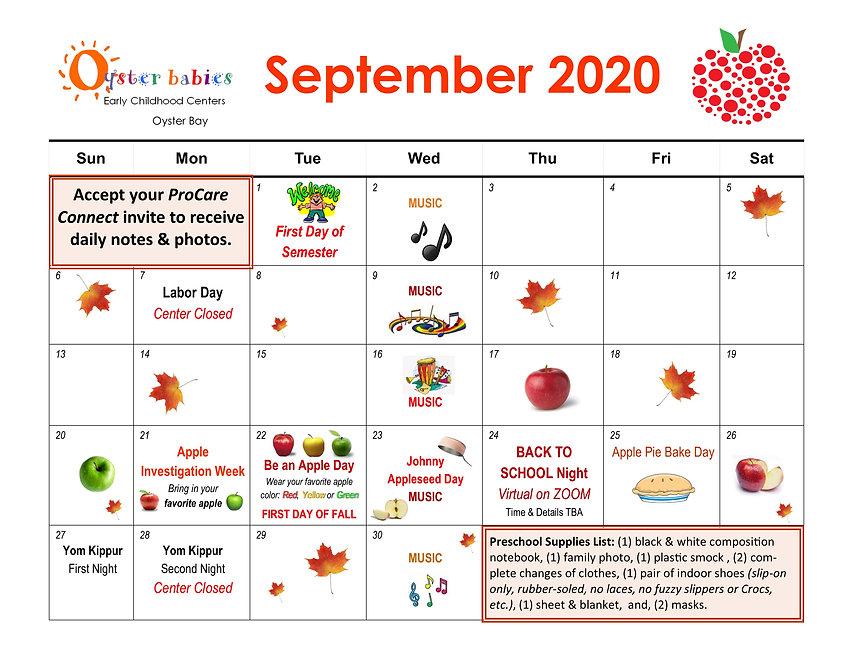Oyster Babies September 2020 Calendar