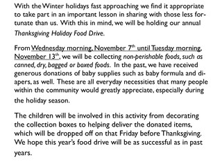 Thanksgiving Holiday Food Drive, Wed 11/7-Tue 11/13