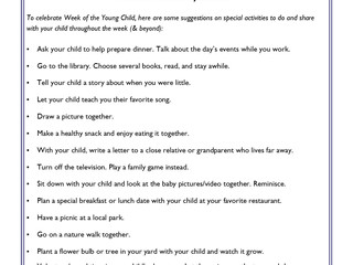 WOTYC: Parent/Child Home Activities