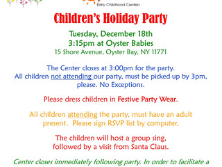 Oyster Babies: Winter Holidays Children's Party, Tuesday 12/18
