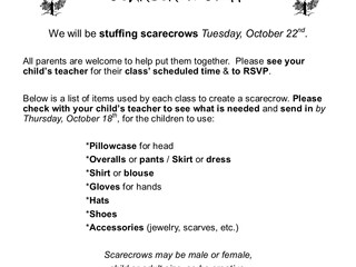 Not-So-Scary Scarecrow Stuffin' ~ Tue 10/22