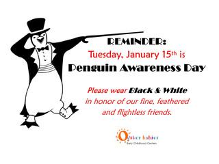 Wear Black & White for Penguin Awareness Day, Tue 1/15