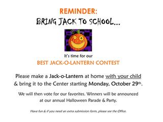 Bring Jack to School for Halloween... Jack-O-Lantern Contest