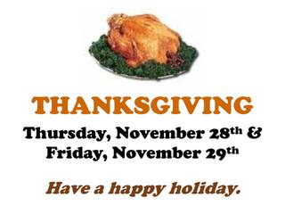 Centers Closed: Thanksgiving Break, Thu 11/28 & Fri 11/29