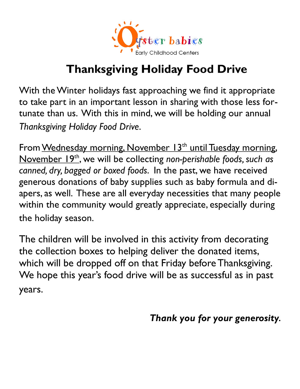 Oyster Babies Thanksgiving Holiday Food Drive 2019