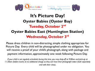 Picture Day is Coming: OB, Tue 10/2 & OBE. Wed 10/3