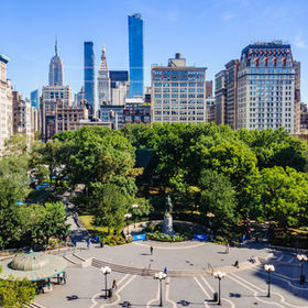 View of Union Square from a shop, New Yo