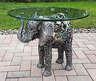 Custom elephan table, made from recycled metal materials
