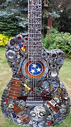 Nashville Guitar sculptue, made from reclaied materials
