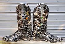 Cowboy boots sculpture, made from recyled metal materials